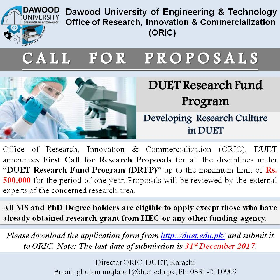 First Call for Proposals